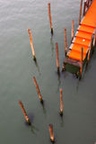 Orange pontoon in venice Stock Images