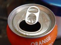 Orange Pop Can. Closeup royalty free stock image