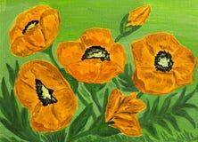 Orange poppies, oil painting Stock Photos