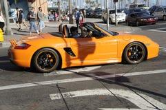 Orange Porsche. A Porsche orange on the run at the streets of Huntington Beach Royalty Free Stock Image