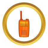 Orange portable handheld radio icon. In golden circle, cartoon style isolated on white background vector illustration