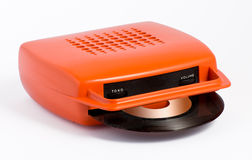 Orange portable record player Stock Photo