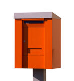Orange post box. mailbox. isolated over the white background Royalty Free Stock Photography