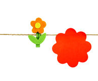 Orange post it and flowers Royalty Free Stock Photo