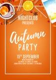 Orange poster for autumn party Stock Photos