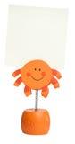 Orange postit holder. Isolated on white background Stock Photos