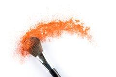 Orange Powder Eyeshadow on a Brush, fashion beauty Stock Photos