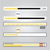 Orange preloaders and progress loading bars. Royalty Free Stock Image