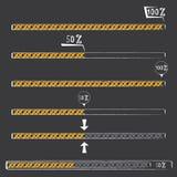 Orange preloaders and progress loading bars. Royalty Free Stock Photography