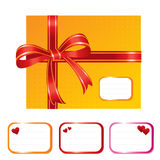 Orange present box. Gift box and designation cards with hearts - vector illustration Stock Images