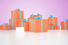Orange present boxes on purple Stock Image