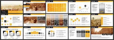 Orange presentationsbakgrunder för internet- eller affärsmarknadsföring Arkivfoto