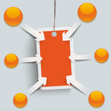 Orange Price Sticker Arrows Buttons Stock Image