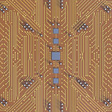 Orange Printed Circuit Board with detailed network thread Textur Royalty Free Stock Photo