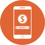 Orange profit and dollars sign design in a flat round button Royalty Free Stock Image