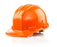 Orange protective helmet isolated on white Stock Photo