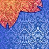 Orange prydnad för Batikabstrakt begreppblått Arkivbilder