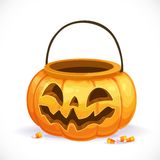 Orange pumpkin basket to collect candy on Halloween Stock Image