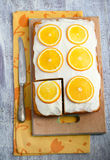 Orange and pumpkin cake. Arranged stock photo