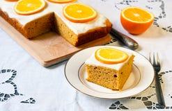 Orange and pumpkin cake. Served stock photos