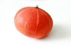 Orange pumpkin closeup. Orange striped pumpkin closeup on white background Royalty Free Stock Image