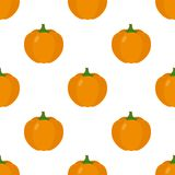Orange Pumpkin Flat Icon Seamless Pattern Stock Photo