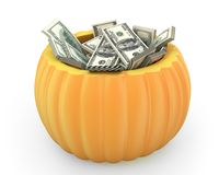 Orange pumpkin full of dollar packs Stock Photos