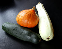 Orange pumpkin and green squash vegetable marrow Stock Photo