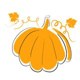 Orange pumpkin isolated on white background. Autumn illustration for halloween party, fall cards and tags stock illustration