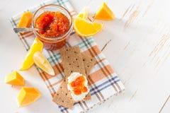 Orange and pumpkin jam ingredients Royalty Free Stock Images