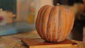 Orange Pumpkin on kitchen table stock video footage
