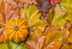 Orange pumpkin and leaves on a wooden table Stock Photography