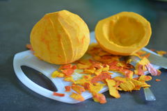 Orange pumpkin without peel for cooking. Purified pumpkin for cooking.Without peel stock photography