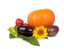 Orange Pumpking Purple Eggplant and Sunflower Stock Photography