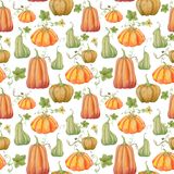 Orange pumpkins, Halloween, seamless pattern, watercolor illustration. Drawing for printing on fabric, textile design, wallpaper, wrapping paper, linens stock illustration