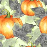 orange pumpkins Sömlös modell 7 stock illustrationer
