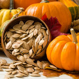 Orange Pumpkins With Toasted Pumpkin Seeds