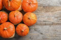Orange pumpkins on wooden background, flat lay composition with space for text Stock Photography