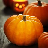 Pumpkins on a wooden background Royalty Free Stock Photography