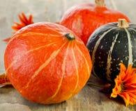 Orange pumpkins on wooden table. Stock Photo