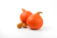 Orange pumpkins wtih walnuts Stock Photo