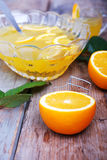 Orange punch with fruit sweet alcohol summer drink Stock Photos