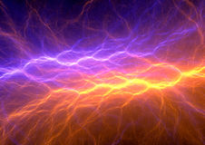 Orange and purple abstract lightning. Background, clash of the elements Royalty Free Stock Photos