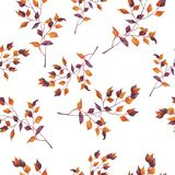 Orange and purple decorative branches seamless pattern. Watercolor illustration. royalty free illustration