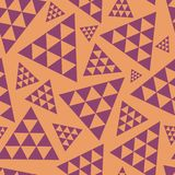 Orange and purple random triangle repeat vector pattern. Modern lively boho vibe. Great for yoga, beauty products, home stock illustration