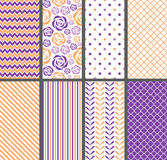 Orange & Purple Seamless Patterns Royalty Free Stock Photo