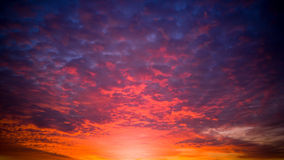 Orange and purple sky at sunset Royalty Free Stock Images