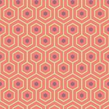 Orange, purple, yellow green meandering geometric hexagons. Seamless vector pattern with hot summer vibe. Great spa stock photo