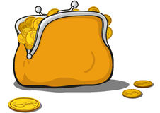 Orange purse full of gold coins Royalty Free Stock Photos