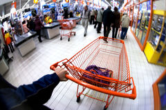 Orange pushcart Stock Images